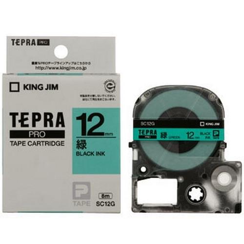 TEPRA SC12G - CHỮ ĐEN NỀN XANH LÁ 12MM